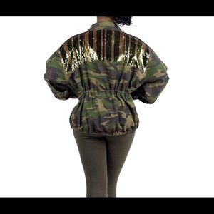 Jackets & Blazers - Sequins Camouflage Printed Coat Safari Jacket